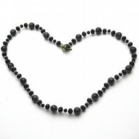 Black Crystal and Dark Gemstone Necklace - UK Free Post