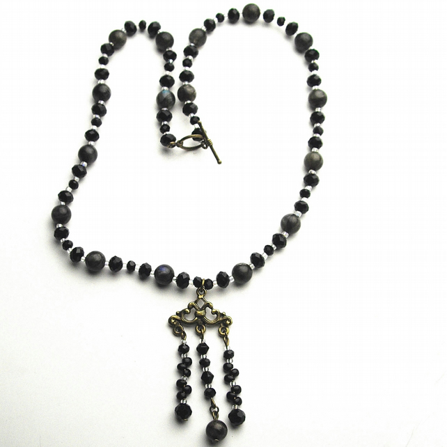 Black Crystal and Dark Gemstone Chandelier Drop Necklace
