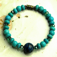 Turquoise and Howlite Bead Bracelet with Magnetic Clasp