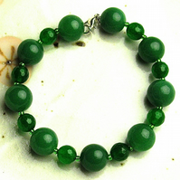 Green Gemstone Bead Bracelet