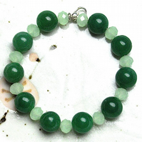 Green Gemstone and Crystal Bead Bracelet