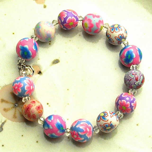 Bright Polymer Clay Bead Bracelet