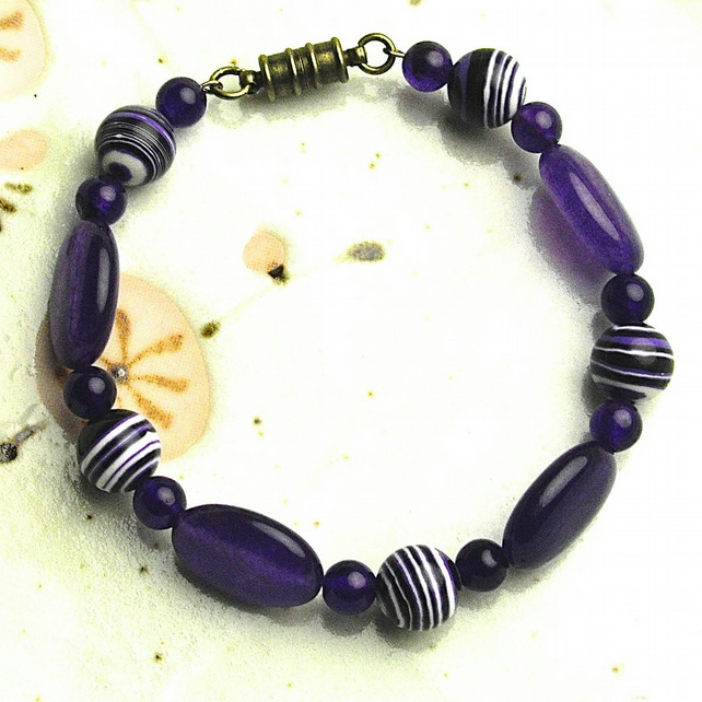 Purple Gem Stone Bead Bracelet with Magnetic Catch
