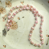 Pink Freshwater Pearl Bridal Necklace