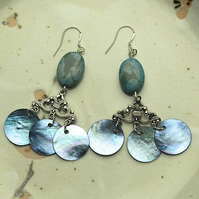 Turquoise Agate and Blue Shell Bead Earrings