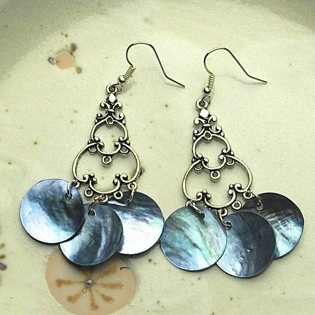 Blue Shell Bead Earrings