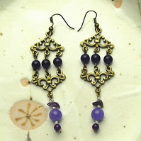 Purple Jade and Amethyst Earrings