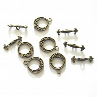5 x Antique Bronze Tone Toggle Clasps