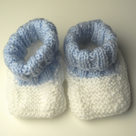 Cute Blue and White Baby Bootees