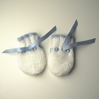 Hand Knitted Blue and White Baby Mittens