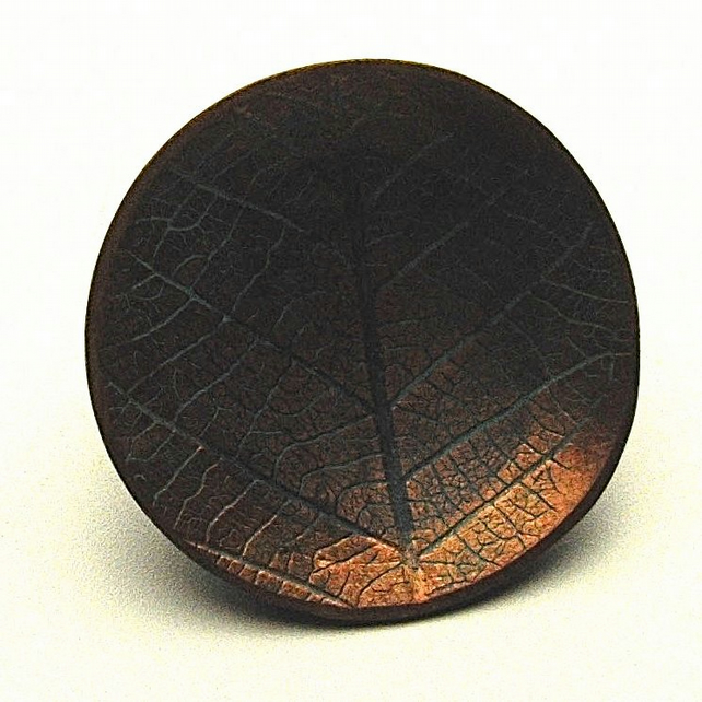Small Hand Made Copper Leaf Design Brooch