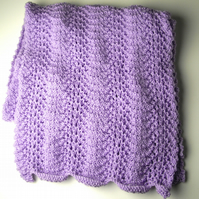 Wide Lilac Hand Knitted Scarf - UK Free Post