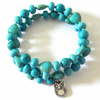 Turquoise and Howlite Memory Wire Bracelet