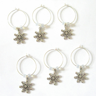 Set of 6 Snowflake Wine Glass Charms