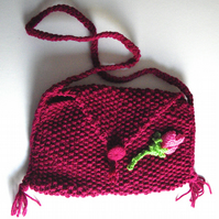 Dark Magenta Hand Knitted Bag