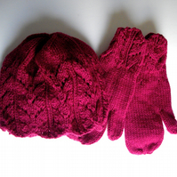 Pretty Dark Magenta Hand Knitted Hat and Mitten Set