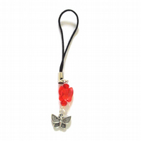 Orange Red Butterfly Phone or Bag Charm