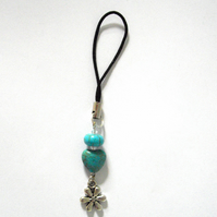 Heart and Flower Gemstone Phone or Bag Charm