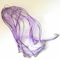 5 x 17 Inch Purple Organza and Cord Necklaces