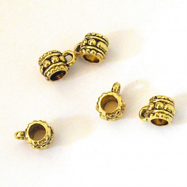 5 x Antiqued Gold Plated 6 x 10 mm bails