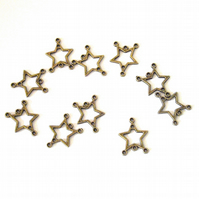 20 x Bronze Tone Star Connector Charms