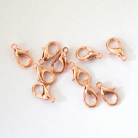 10 x Copper Plated Lobster Clasps (12 x 6 mm)