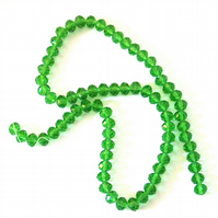 70 x Green Crystal Rondelle Beads (6 x 8 mm)