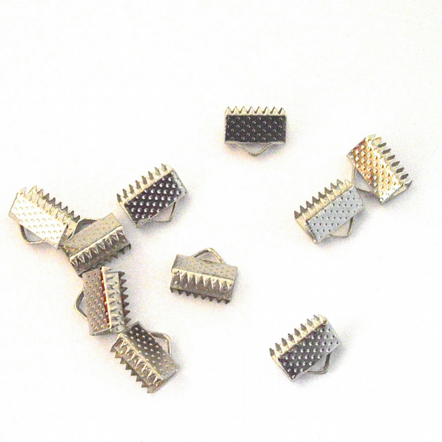 50 x Silver Plated Crimp End Connectors (10 mm)