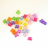 32 x Perspex Butterfly Beads (10 x 9 mm)