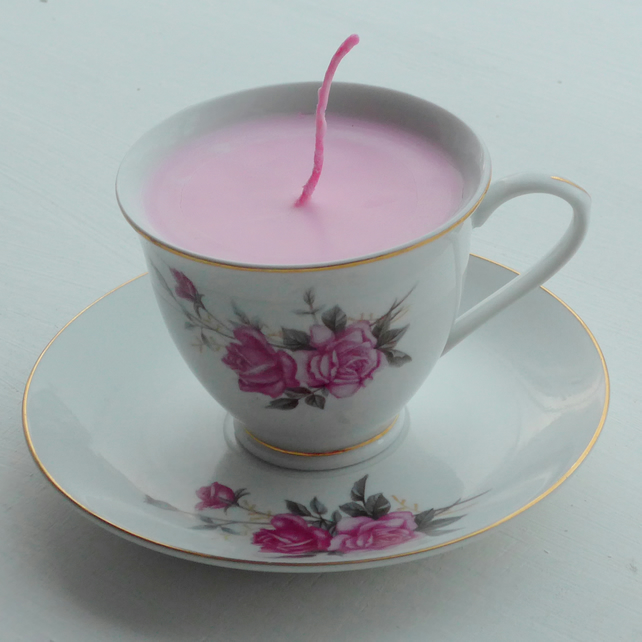 Vintage Rose China Tea Cup Candle with Saucer