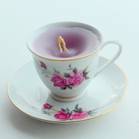 Vintage China Tea Cup Rose Candle with Saucer - UK Free Post