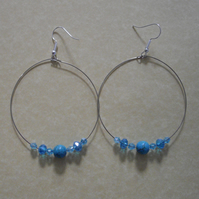 Large Hoop Howite Gemstone Earrings