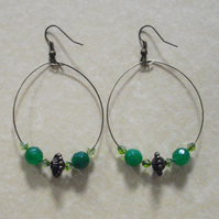 Green Gemstone Bronze Tone Hoop Earrings
