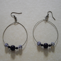 Black Gemstone Bronze Tone Hoop Earrings