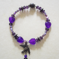 Purple Amethyst Heart Bronze Tone Bead Bracelet with Bird Charm