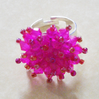 Hot Pink Crystal Bead Ring - UK Free Post
