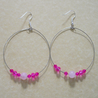 Rose Quartz and Crystal Bead Large Hoop Earrings - UK Free Post
