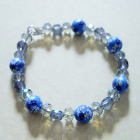 Blue Floral Ploymer Clay and Crystal Bead Bracelet