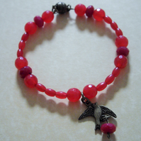 Brazilian Ruby Bead Bracelet with Bird Dangle Charm