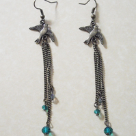 Bronze Bird Dangle Earrrings with Small Green Crystal Beads