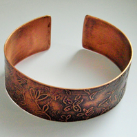 Hand Crafted Etched Copper Cuff Bracelet