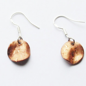 Textured Copper Disc Drop Earrings