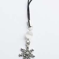 Snowflake and Gemstone 'Snowball' Bag or Phone Charm