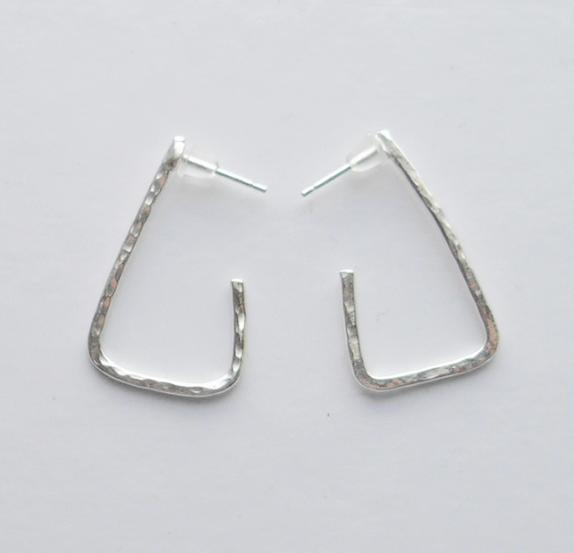 Textured Sterling Silver Triangle Earrings