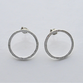 Textured Sterling Silver Hoop Stud Earrings