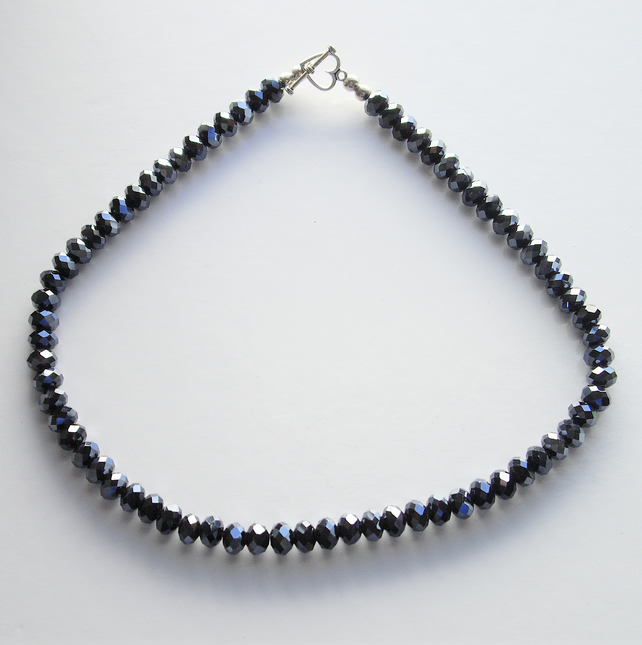 Metallic Blue Crystal Bead Choker