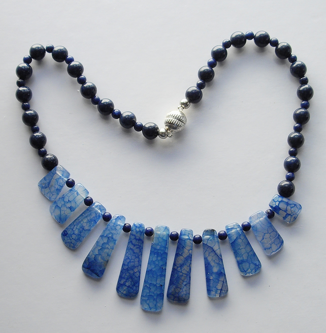 Blue Gemstone Graduated Choker with Magnetic Clasp