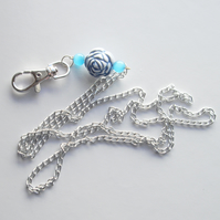 Silver Plated Chain and Blue Flower Bead Mexican Opal Lanyard