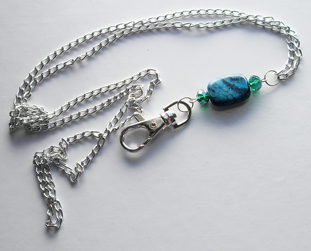 Silver Plated Chain and Turquoise Bead Lanyard