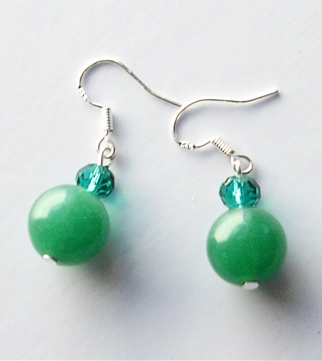 Green Jade Bead Earrings